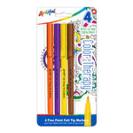 4 ct Color Therapy� Adult Coloring - Fine Point Felt Tip Markers - Orange, Purple, Yellow & Brown