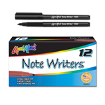 12 ct Note Writers® Fiber Point, Pocket Markers - Black