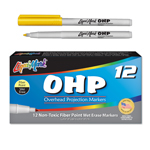 12 ct Fiber Point OHP Markers - Yellow