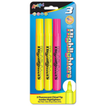 3 ct Broadline Fluorescent Highlighters - 2 Yellow, 1 Pink