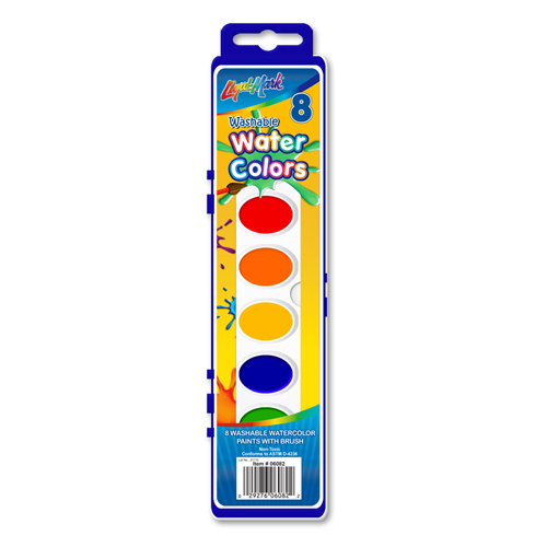 8 ct Washable Watercolor Paints With Brush