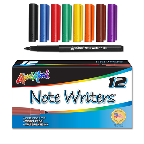 12 ct Note Writers® Fiber Point, Pocket Markers - Assorted