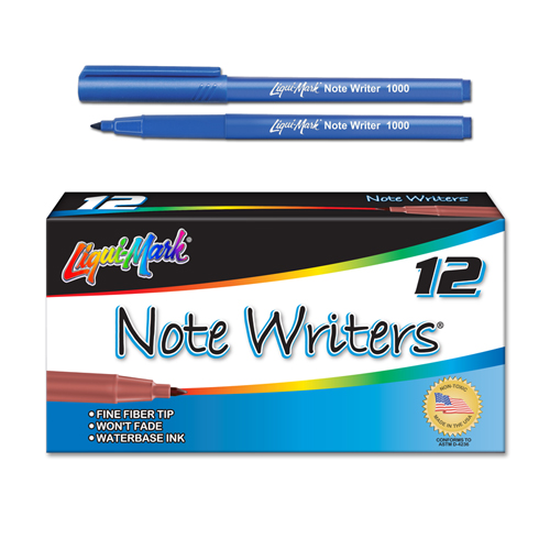 12 ct Note Writers® Fiber Point, Pocket Markers - Blue