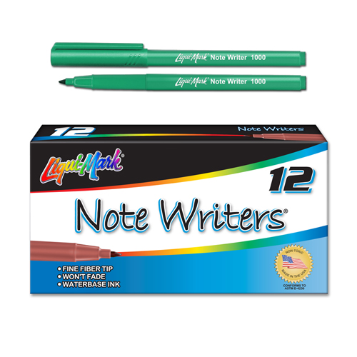12 ct Note Writers® Fiber Point, Pocket Markers - Green