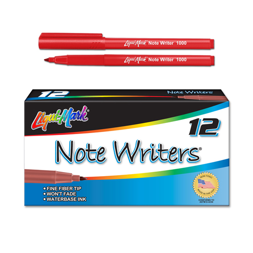 12 ct Note Writers® Fiber Point, Pocket Markers - Red