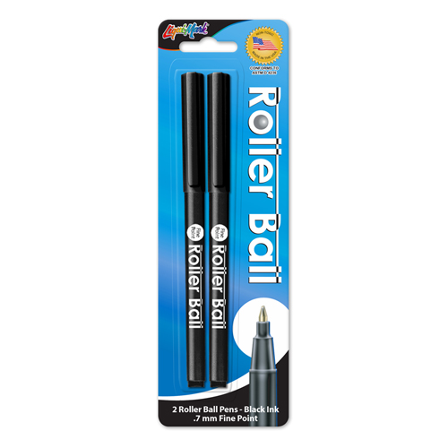 2 ct Roller Ball™ - Fine Point Pen - Black