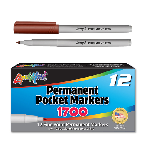 12 ct Permanent Extra Fine, Pocket Markers - Brown