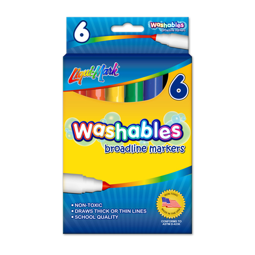 6 ct Broadline Washable Coloring Markers - Assorted