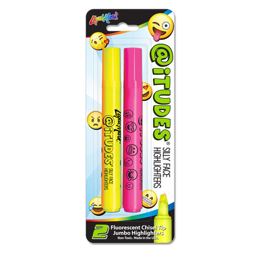 2 ct @iTUDES� Emoji Silly Face Broadline Fluorescent Highlighters - 1 Yellow, 1 Pink
