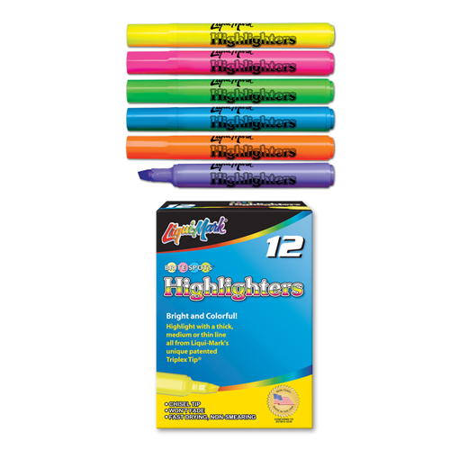 12 ct Broadline Fluorescent Highlighters - Assorted