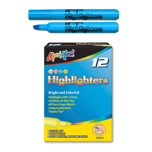 12 ct Broadline Fluorescent Highlighters - Blue