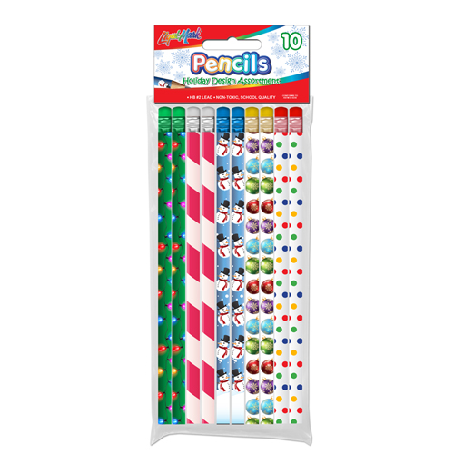 10 ct #2 HB Holiday Theme Fashion Pencils with Eraser