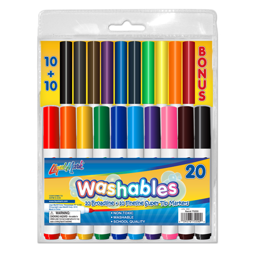20 ct Washable Markers - 10 Fineline and 10 Broadline Markers