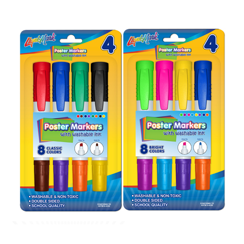 4 ct Washable Double Ended Poster Markers - Standard & Bright Colors