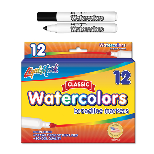 12 ct Broadline, Conical Tip Watercolor Markers - Black