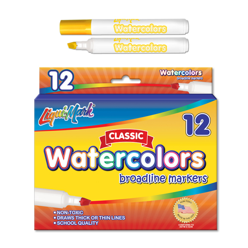 12 ct Broadline, Chisel Tip Watercolor Markers - Yellow